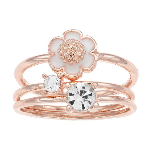 LC Lauren Conrad Flower and Solitaire Ring (3-set)