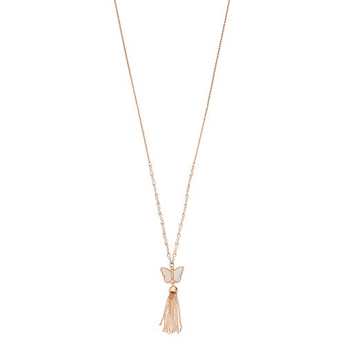 LC Lauren Conrad Butterfly with Tassel Cat Eye Necklace