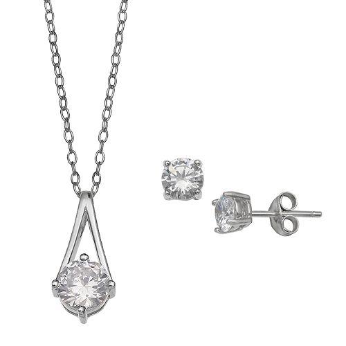 PRIMROSE Cubic Zirconia Drop Pendant Necklace & Stud Earrings