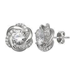 PRIMROSE Loveknot Cubic Zirconia Stud Earrings