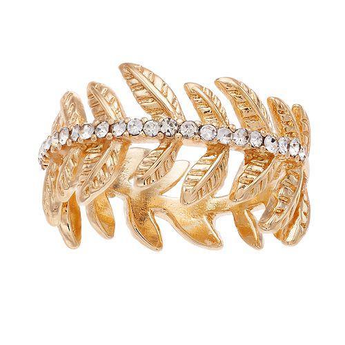 LC Lauren Conrad Metal Leaf & Stone Ring