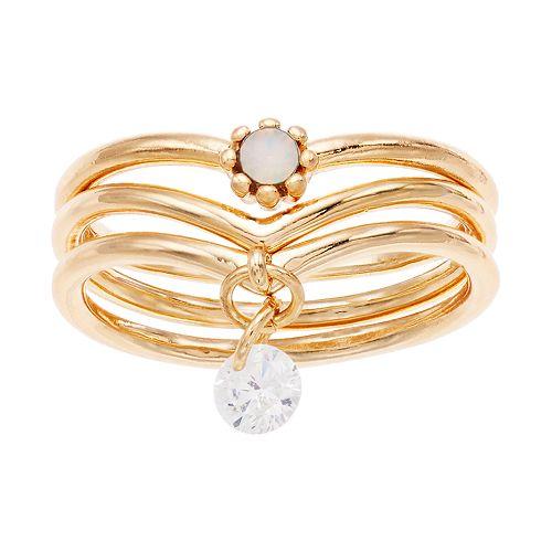 Women's Lauren Conrad Layered Ring Set With Dangle Leaf