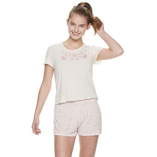 Juniors' Wallflower Sleep Tee & Pajama Shorts Set
