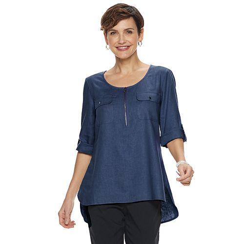 Women's Dana Buchman Solid Linen-Blend Popover Top
