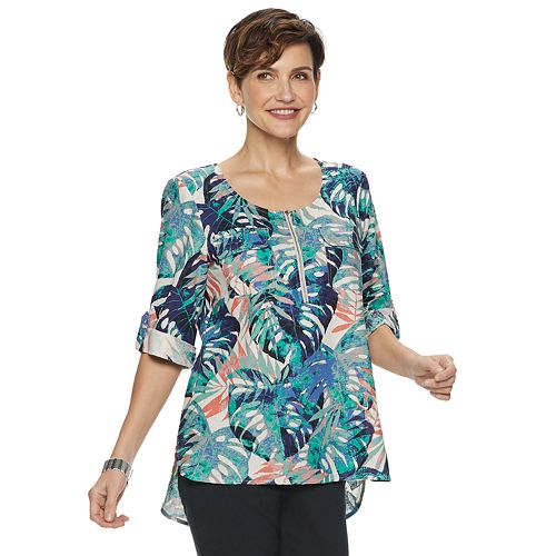Women's Dana Buchman® Solid Linen-Blend Popover Top