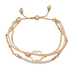 Women's Lauren Conrad thread Glitzy and Flower Pull Tie Bracelet