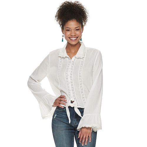 Juniors' American Rag Button Front Lace Mixed Trim Shirt