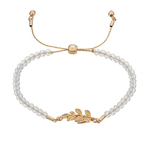 Women's Lauren Conrad Glitzy Glass and Leaf Pull Tie Bracelet