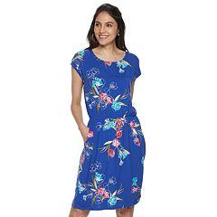 2b19697860ec Petites Apt. 9® Print Cinch-Waist T-Shirt Dress