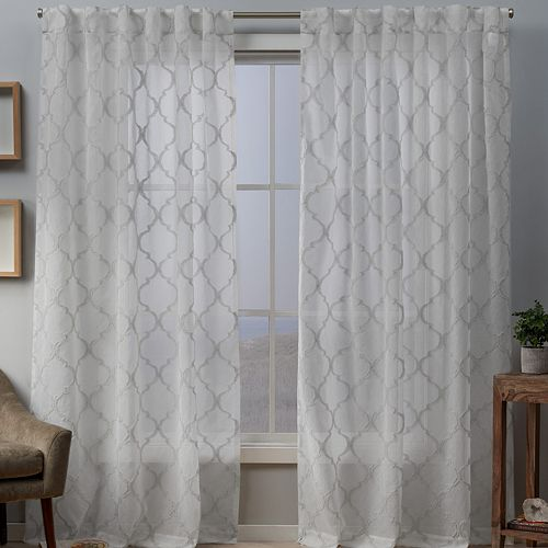 Exclusive Home 2-pacl Aberdeen Sheer Woven Trellis Embellished Window Curtains
