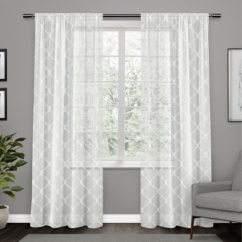 Exclusive Home 2-pacl Aberdeen Sheer Woven Trellis Embellished Window Curtains, White, 54X84