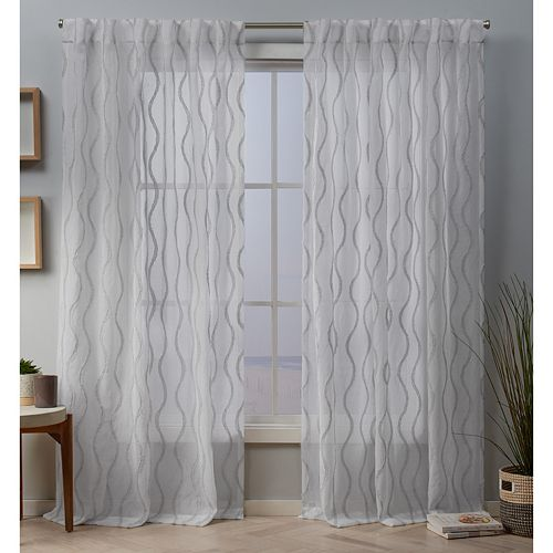 Exclusive Home 2-pack Belfast Woven Wave Embellished Sheer Window Curtains