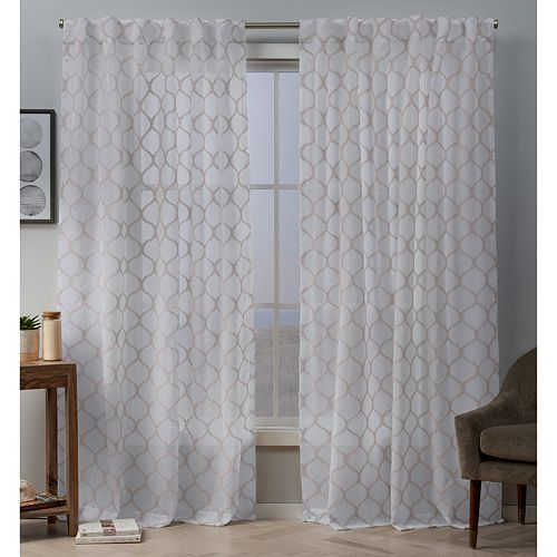 Exclusive Home 2-pack Bradford Sheer Woven Ogee Embellished Window Curtains