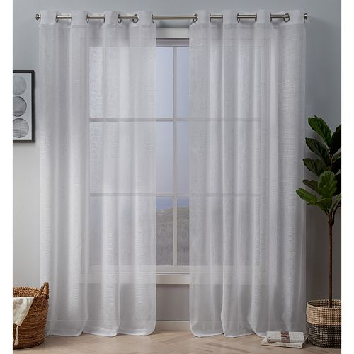 Exclusive Home 2-pack Crest Stripe Embellished Sheer Window Curtains