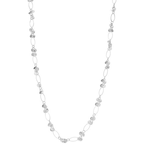 Women's Silver Tone Oval Link & Disc Necklace