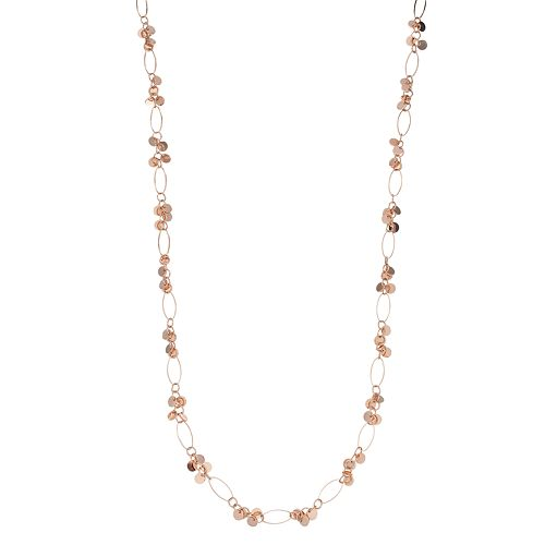 Rose Gold Tone Oval Link & Disc Necklace