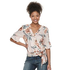 Juniors' American Rag Faux Wrap Surplice Top