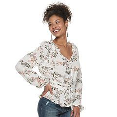Juniors' American Rag Long Sleeve Corset Top