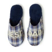 "Men's Dearfoams ""Best Dad"" Plaid Scuff Slippers"