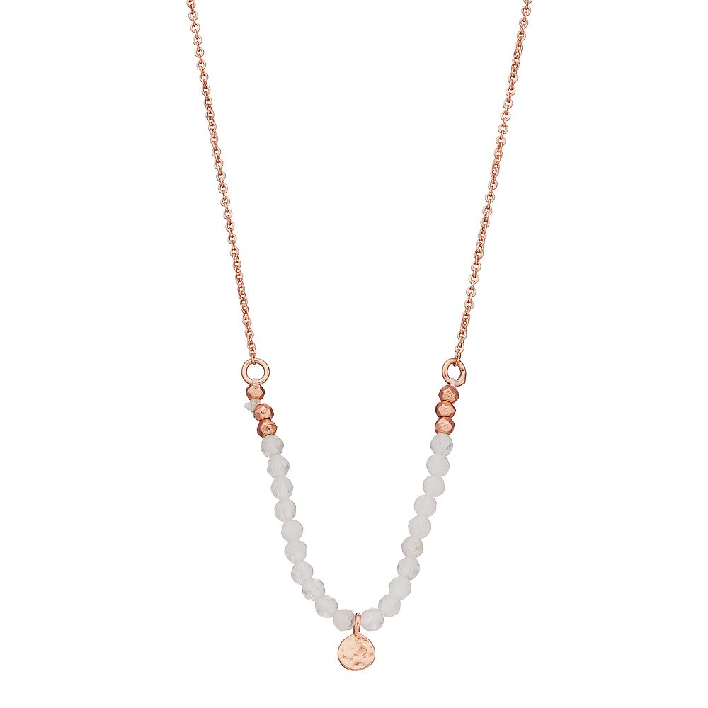 R LIM Stone & Hammered Metal Beaded Necklace