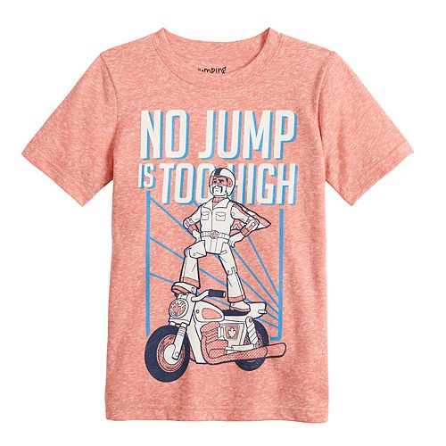 """Disney / Pixar Toy Story 4 Boys 4-12 """"No Jump Is Too High"""" Heathered Graphic Tee by Jumping Beans®"""