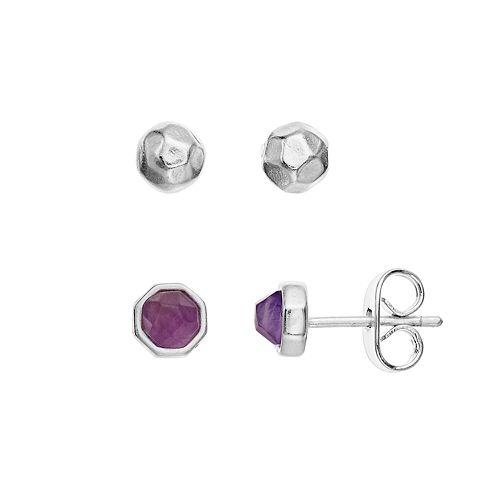 R LIM Stone Stud Earring Set