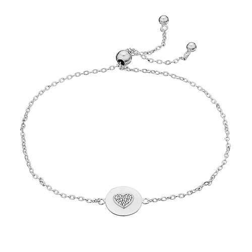 Women's Rachel Lim Silver Round Heart Bolo Bracelet