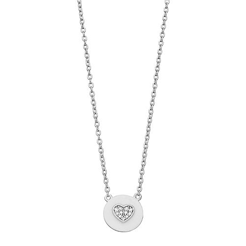 R LIM Sterling Silver Cubic Zirconia Round Heart Pendant Necklace