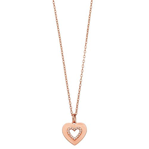 R LIM Cubic Zirconia Heart Pendant Necklace
