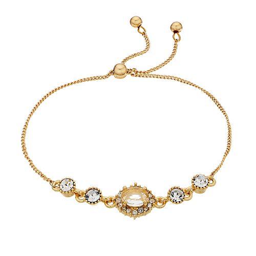 Women's Lauren Conrad Gold and Crystal Pull Tie Bracelet