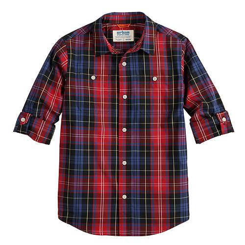 Boys 8-20 Urban Pipeline™ Plaid Button-Down Tab-Sleeve Shirt