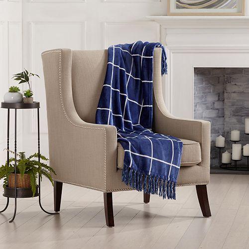 Great Bay Home Ultra Velvet Plush Soft Fringe Throw Blanket