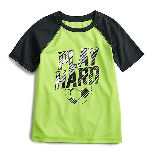 "Boys 4-12 Jumping Beans® Hi-Low Soccer ""Play Hard"" Raglan Active Tee"