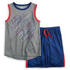 Boys 4-12 Jumping Beans® 'USA' Patriotic Muscle Tee & Shorts Set