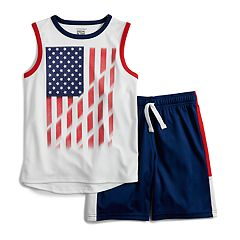 Boys 4-12 Jumping Beans® Patriotic Flag Muscle Tee & Shorts Set