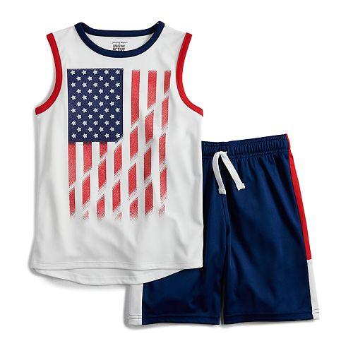 Boys 4-12 Jumping Beans® Patriotic Flag Muscle Tee & Shorts Set