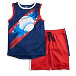 Boys 4-12 Jumping Beans® Patriotic Baseball Muscle Tee & Shorts Set