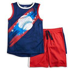 Boys 4-12 Jumping Beans® Patriotic Baseball Muscle Tee & Shorts Set