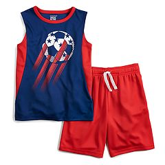 Boys 4-12 Jumping Beans® Patriotic Soccer Muscle Tee & Shorts Set