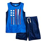 Boys 4-12 Jumping Beans® Patriotic Baseball Bats & Ball Flag Muscle Tee & Shorts Set