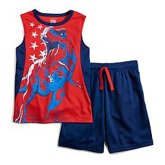 Boys 4-12 Jumping Beans® Patriotic Dinosaur T-Rex Muscle Tee & Shorts Set