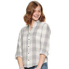 0d3892556 Womens Grey Button-Down Shirts Shirts & Blouses - Tops, Clothing ...