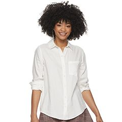 dffdb5b96 Juniors White Button-Down Shirts Long Sleeve Shirts & Blouses - Tops ...