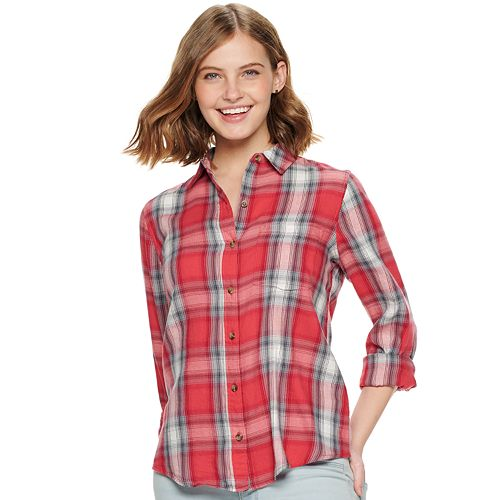Juniors' SO® Button-Down Front Shirt