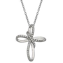 PRIMROSE Sterling Silver Cubic Zirconia Loop Cross Pendant Necklace