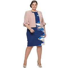Plus Size Maya Brooke Jacket & Abstract Print Dress Set