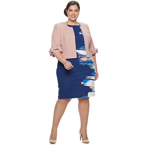 Plus Size Maya Brooke Jacket & Abstract Print Dress Set