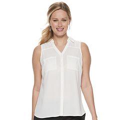 b5c2daa3e32948 Womens White Apt. 9 Sleeveless Shirts & Blouses - Tops, Clothing ...