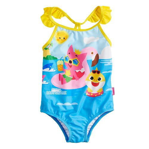 5fd6f136b8955 Toddler Girl Baby Shark One-Piece Swimsuit by Dreamwave