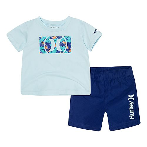 Baby Boy Hurley Logo Floral Graphic Tee & Shorts Set
